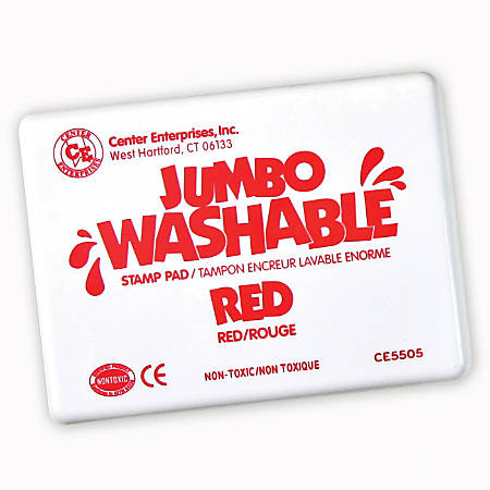 "Center Enterprise Jumbo Washable Unscented Stamp Pads, 6 1/4"" x 4"", Red, Pack Of 2"