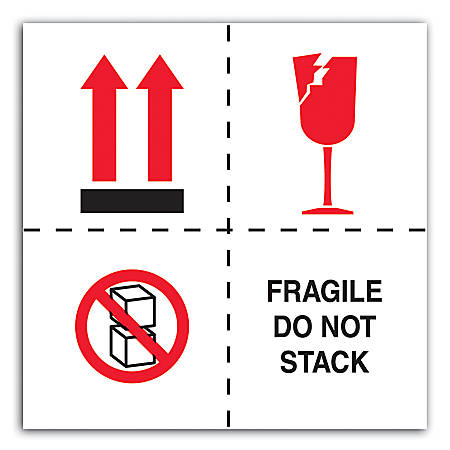 "Tape Logic® Preprinted International Safe-Handling Labels, DL4501, ""Fragile, Do Not Stack"", 4"" x 4"", Red/Black/White, Roll Of 500"