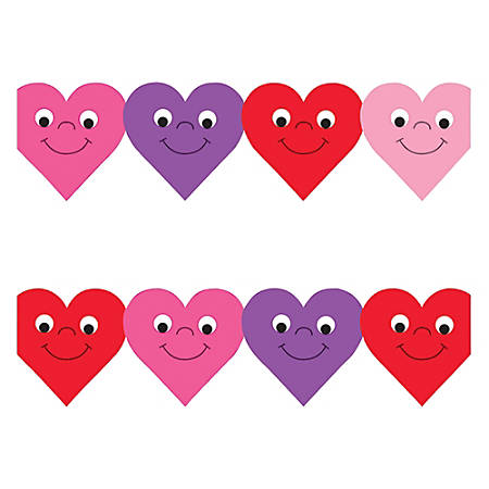 "Hygloss Happy Hearts Design Border Strips - 12 (Happy Hearts) Shape - Damage Resistant, Durable, Long Lasting - 36"" Height x 3"" Width - Assorted - 12 / Pack"