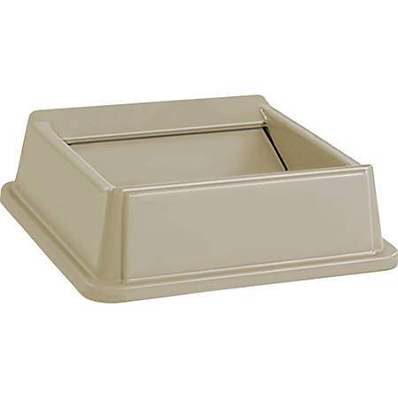 Rubbermaid Commercial Untouchable Square Swing Top - Square - 1 Each - Beige