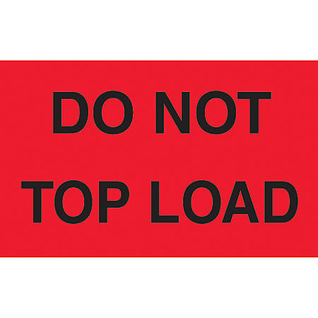 """Preprinted Special Handling Labels, DL2301, """"Do Not Top Load"""", 5"""" x 3"""", Fluorescent Green, Roll Of 500"""