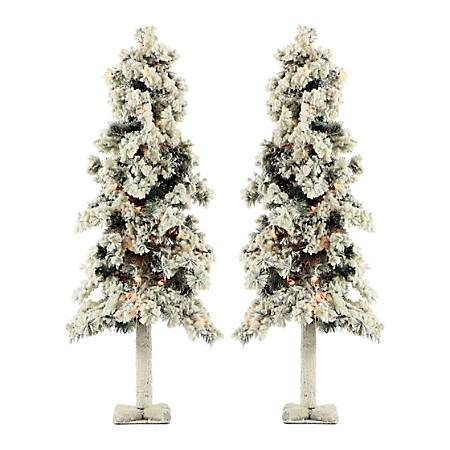 Fraser Hill Farm Snowy Alpine Trees With Clear Lights, 4', Set Of 2