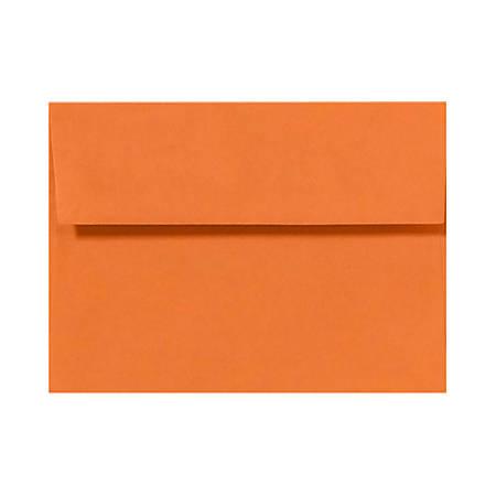 "LUX Invitation Envelopes With Peel & Press Closure, A2, 4 3/8"" x 5 3/4"", Mandarin Orange, Pack Of 50"