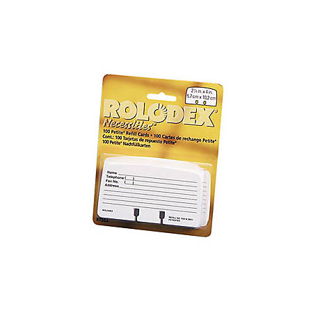 "Rolodex® Card File Refills, Ruled, 2 1/4"" x 4"", White, Pack Of 100"