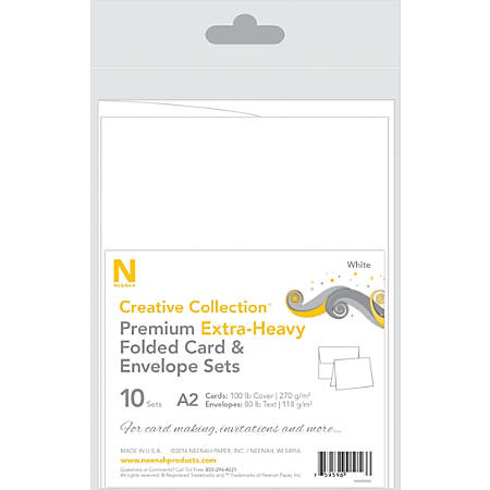 Neenah® Creative Collection™ Card And Envelope Set, A2, White, FSC® Certified, Set Of 10