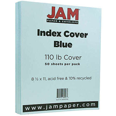 """JAM Paper® Cover Card Stock, 8 1/2"""" x 11"""", 110 Lb, Vellum Bristol Blue, Pack Of 50 Sheets"""