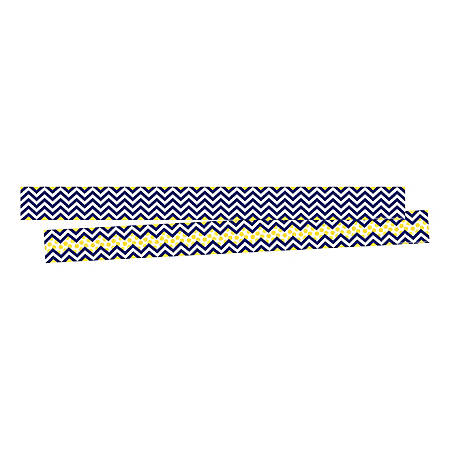 "Barker Creek Double-Sided Border Strips, 3"" x 35"", Chevron Navy, Set Of 24"