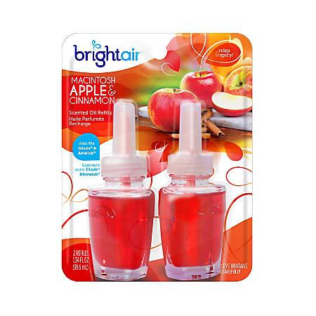 Bright Air® Electric Scented Oil Warmer Air Freshener Refills, 1.34 Oz, Macintosh Apple Cinnamon Sent, Pack Of 2