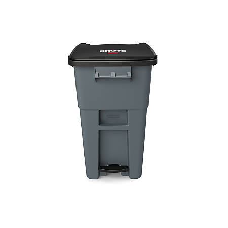 Rubbermaid® Commercial BRUTE® Rectangular Polyethylene Rollout Bin, Step-On, 50 Gallons, Gray