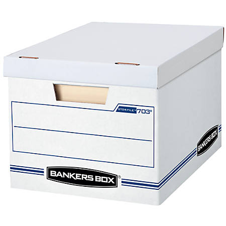 "Bankers Box® Stor/File™ Basic Strength Storage Boxes, 15"" x 12"" x 10"", Letter/Legal, 60% Recycled, White/Blue, Pack Of 12"
