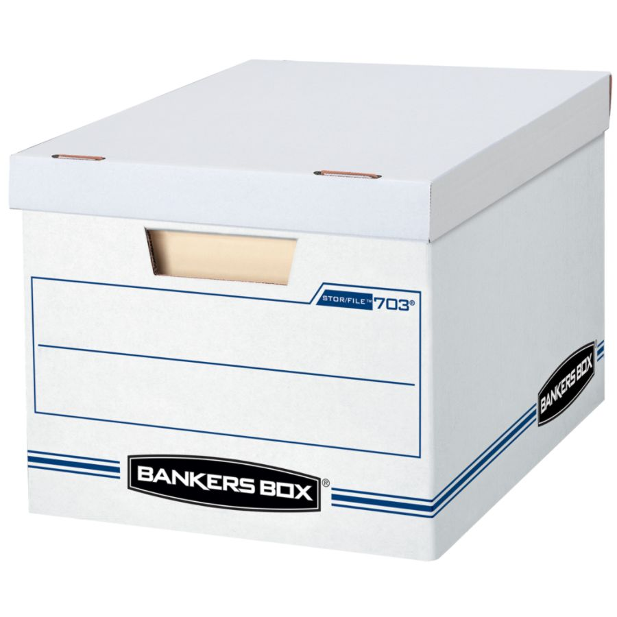 Bankers Box StorFile Basic Strength Storage Boxes 15 X 12 X 10 LetterLegal  60percent Recycled WhiteBlue Pack Of 12 By Office Depot U0026 OfficeMax