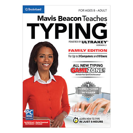 Encore™ Mavis Beacon Teaches Typing Powered By Ultrakey 2 - Family Edition, For 3 PC/Apple® Mac® Devices, Traditional Disc