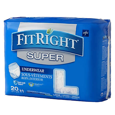 """FitRight Super Protective Underwear, Large, 40 - 56"""", White, Pack Of 20"""