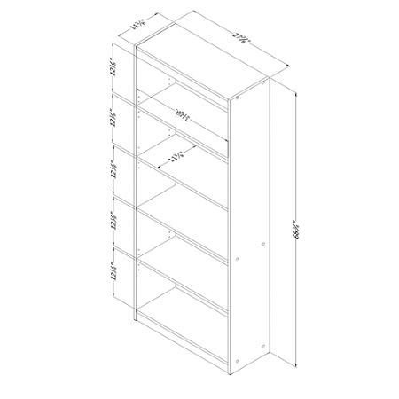 South Shore Axess 5 Shelf Bookcase Royal Cherry Item 1997389