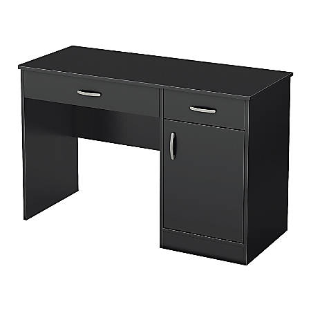 South Shore Axess Small Desk With Storage, Pure Black