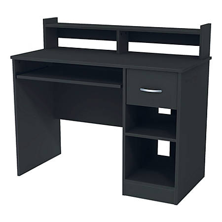 South Shore Axess Desk With Keyboard Tray and Hutch, Pure Black
