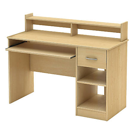 South Shore Axess Desk With Keyboard Tray and Hutch, Natural Maple