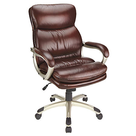 Realspace® Broward Faux Leather High-Back Chair, Brown/Silver