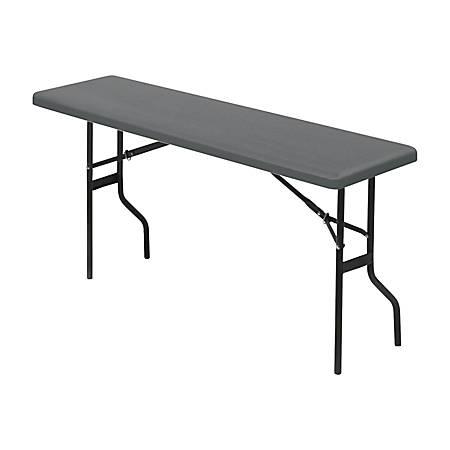 "Iceberg Resin Folding Table, 60""W x 18""D , Charcoal/Black"