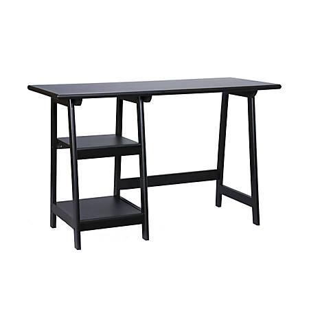 Southern Enterprises Langston Straight Desk, Black