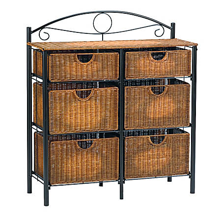 Southern Enterprises Iron/Wicker Storage Chest, Rectangle, Black/Brown