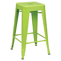 Lorell Metal Stools Lime Set Of