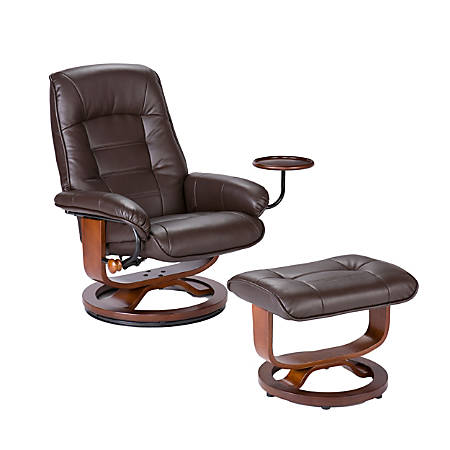 Southern Enterprises Bay Hill Leather Reclining Chair And Ottoman Set, Café Brown