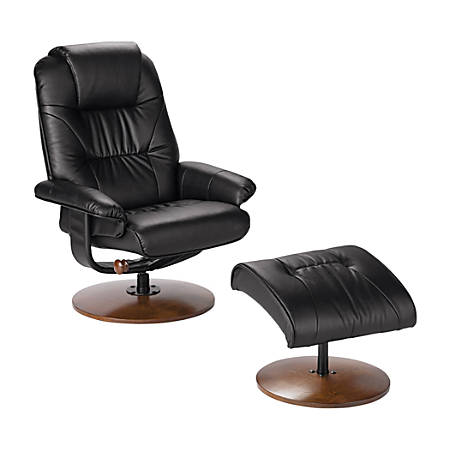 Southern Enterprises Naples Leather Reclining Chair And Ottoman Set, Black