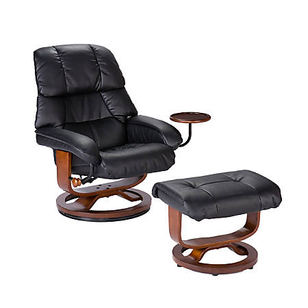 Southern Enterprises Congressional Leather Recliner And Ottoman Set, Black