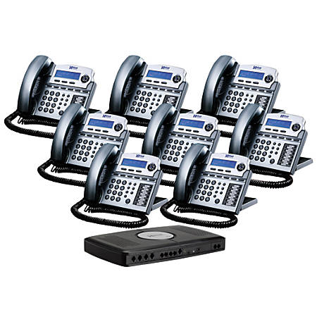 XBLUE Networks X16 Corded Telephone Bundle, Titanium Metallic, Set of 8