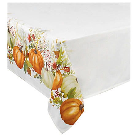 "Amscan Fall Traditional Pumpkin Fabric Table Cover, 60"" x 84"""