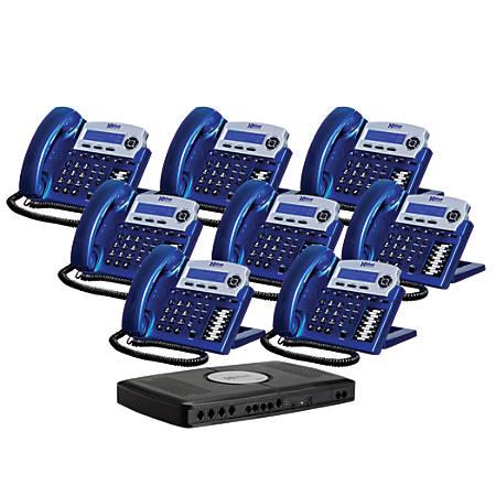 XBLUE Networks X16 Corded Telephone Bundle, Vivid Blue, Set of 8