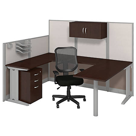 Bush Business Furniture Office In An Hour U Workstation With Storage & Chair, Mocha Cherry Finish, Standard Delivery