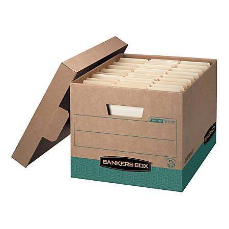 "Bankers Box® R-Kive® Storage Boxes, 100% Recycled Content, Heavy-Duty, FastFold®, Lift-Off Lid, Letter/Legal, Kraft/Green, BAA Complaint, 15""D x 12""W x 10""H,  12/Pack"