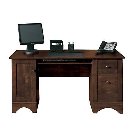 """Realspace® Dawson 60""""W Computer Desk, Cinnamon Cherry"""
