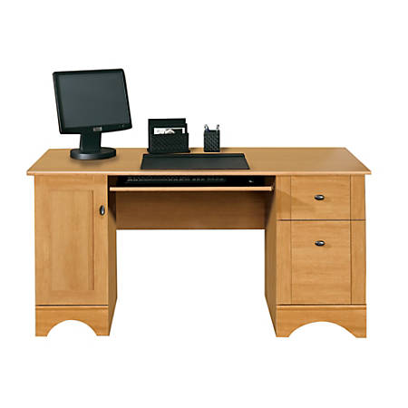 "Realspace® Dawson 60"" Computer Desk, Canyon Maple"