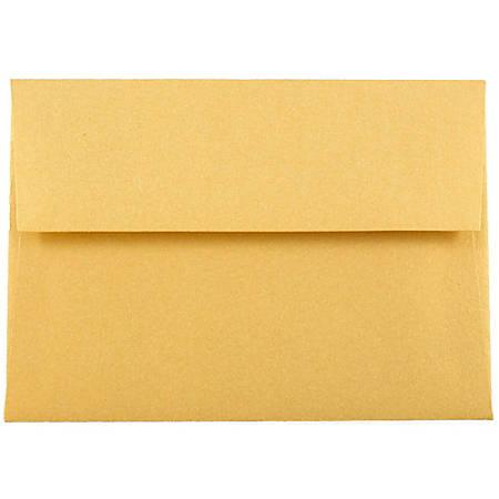 "JAM Paper® Booklet Envelopes With Gummed Closure, 4 Bar A1, 3 5/8"" x 5 1/8"", Stardream Gold Metallic, Pack Of 25"