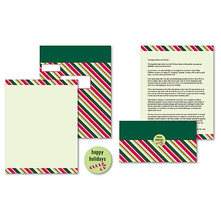 """Great Papers!® Holiday Seal & Send Invitations, 8 1/2"""" x 11"""", Candy Cane Stripes, Pack Of 50"""
