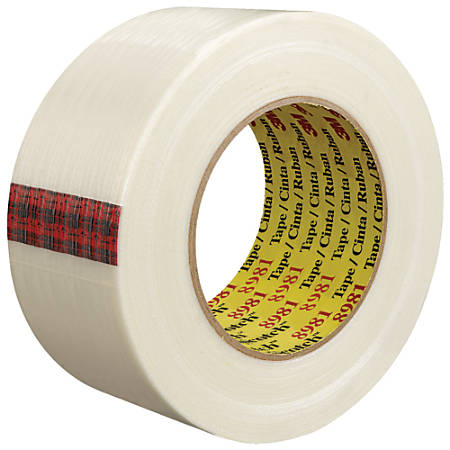 """Scotch® 8981 Strapping Tape, 3"""" Core, 2"""" x 60 Yd., Clear, Case Of 12"""
