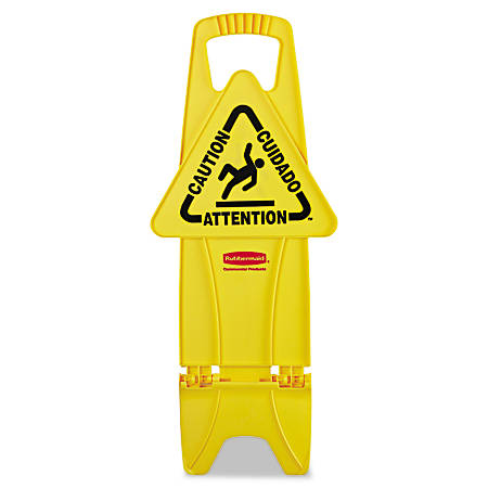 """Rubbermaid® Commercial Stable Multilingual """"Caution"""" Safety Sign, 26""""H x 13""""W x 13 1/4""""D, Yellow"""