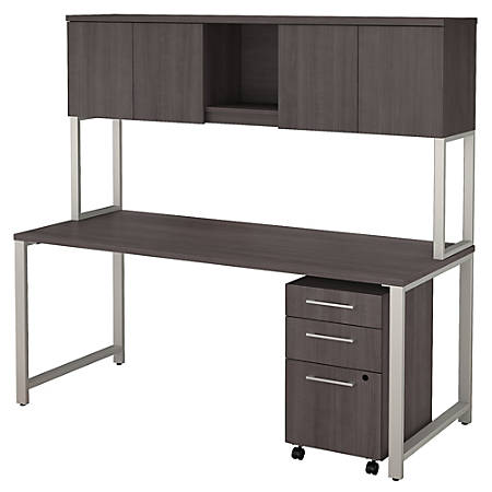 """Bush Business Furniture 400 Series Table Desk With Hutch And 3 Drawer Mobile File Cabinet, 72""""W x 30""""D, Storm Gray, Standard Delivery"""