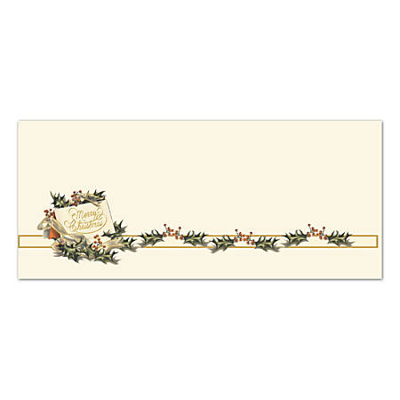 "Great Papers!® Holiday Envelopes, Vintage Christmas Holly, #10, 4 1/8"" x 9 1/2"", Pack Of 40"