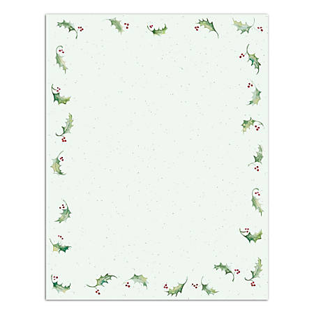"Great Papers!® Holiday-Themed Letterhead Paper, 8 1/2"" x 11"", Holly Bunch, Pack Of 80 Sheets"