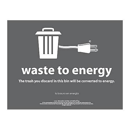 "Recycle Across America Waste-To-Energy Standardized Recycling Labels, WTE-8511, 8 1/2"" x 11"", Charcoal"