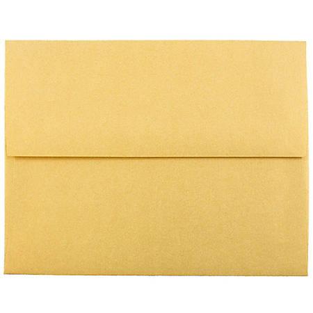 "JAM Paper® Booklet Invitation Envelopes, A2, 4 3/8"" x 5 3/4"", Stardream Metallic Gold, Pack Of 25"