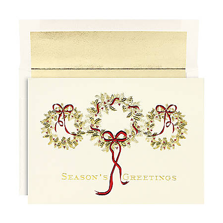 "Holiday Collection Holiday Cards, 5 5/8"" x 7 7/8"", 3 Gold Wreaths Design, Gold/Red, Pack Of 16"