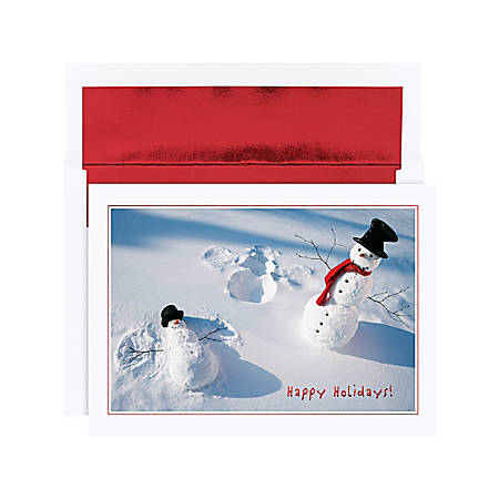 """Holiday Collection Holiday Cards, 5 5/8"""" x 7 7/8"""", Snowman Angels Design, Red, Pack Of 18"""