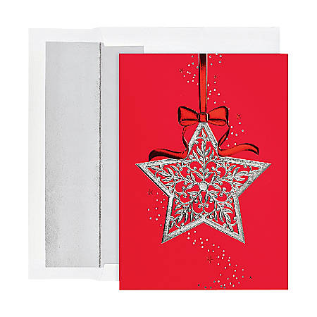 """Holiday Collection Holiday Cards, 5 5/8"""" x 7 7/8"""", Star Ornament Design, Red/Silver, Pack Of 16"""