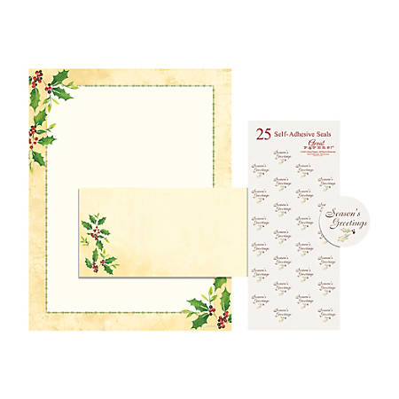 """Great Papers! Holiday Stationery Kit, 8 1/2"""" x 11"""", Falling Holly, Pack Of 25"""
