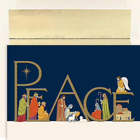 """Great Papers! Holiday Greeting Cards, Peaceful Night, 7/8""""W x 5 5/8""""H, Pack Of 16"""